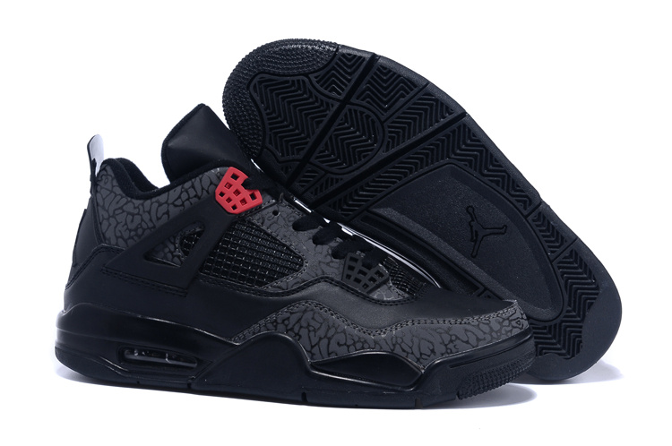 2015 New Jordans 4 Follow Print Black Red