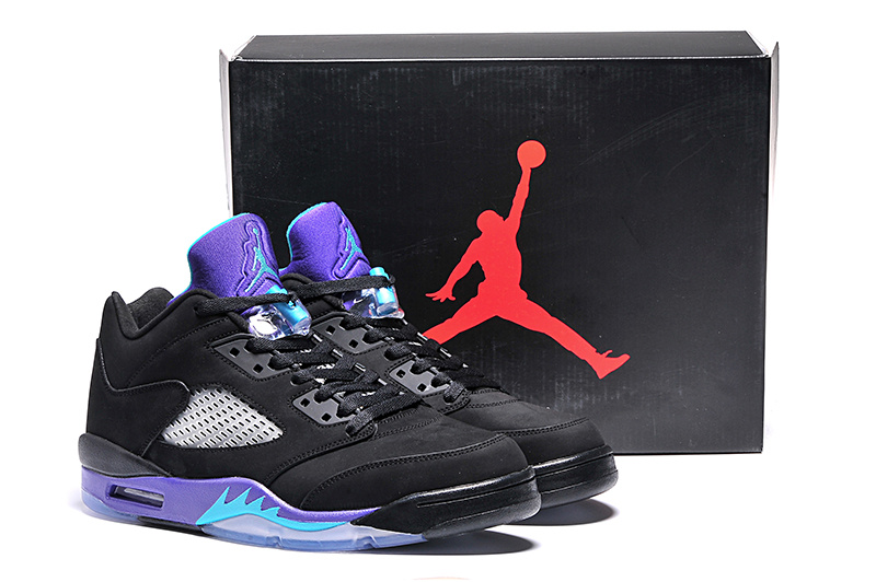 2015 Jordans 5 Retro Low Black Purple Shoes