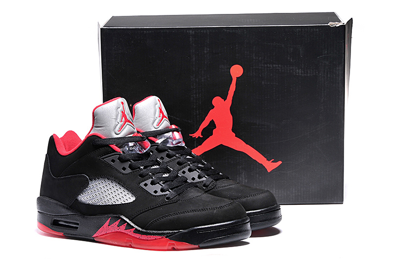 2015i Jordans 5 Retro Low Black Red Shoes