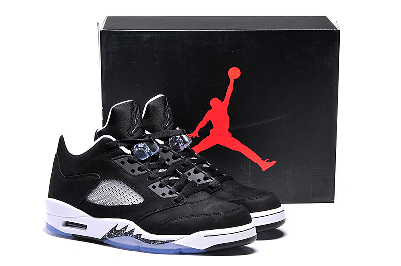 2015 Jordans 5 Retro Low Oreo Black White Shoes
