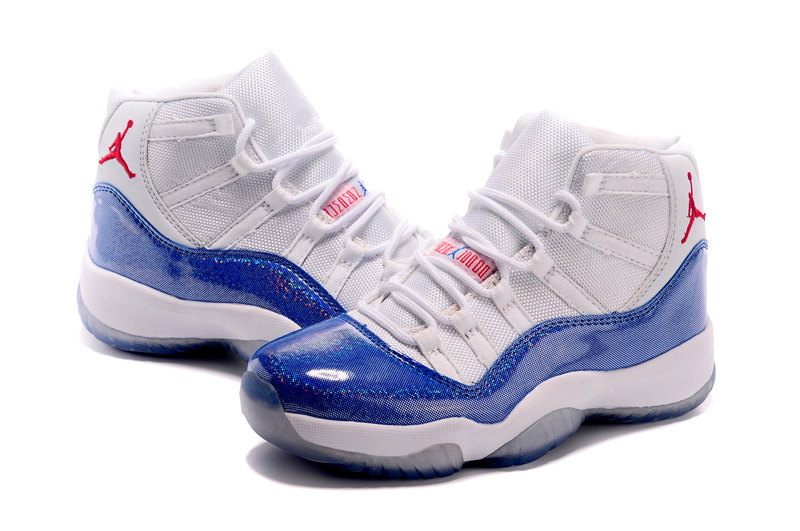 2015 Jordans 11 White Blue Shoes For Women