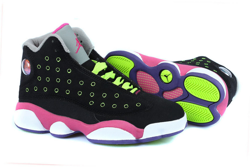 Buy Nike Air Jordan 13 Retro Cheap sale Black Pink Green  45d819d0c