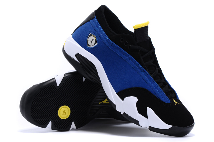 2015 Jordans 14 Low Blue Black White Shoes