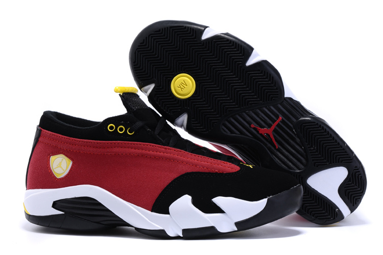 2015 Jordans 14 Low Red Black White Yellow Shoes