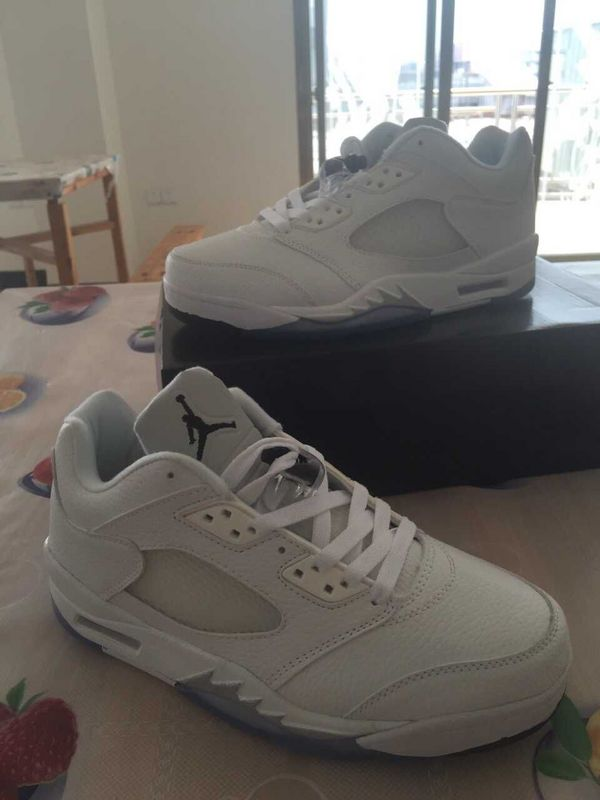 2015 Jordans 5 Retro Low All White Silver Shoes