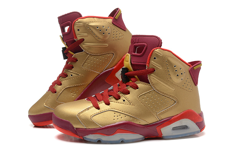 2015 Jordans 6 Retro Gold Red Shoes