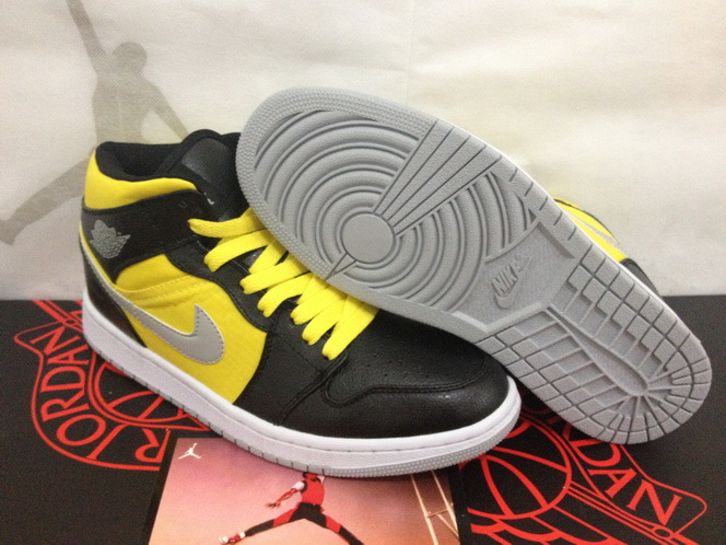 2015 Air Jordans 1 Original Black Yellow White