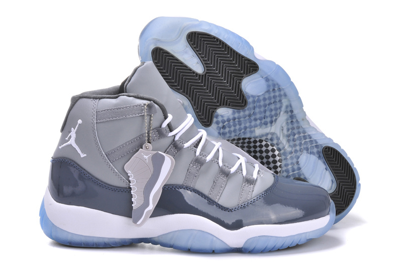 2015 Air Jordans 11 Grey White Retro With Air Cushion