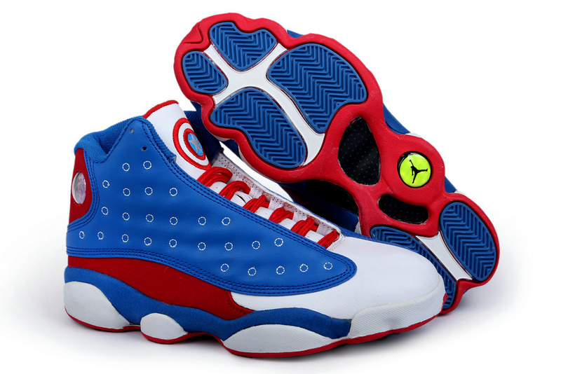 2015 Air Jordans 13 Captain America Edition Classic Blue White Red