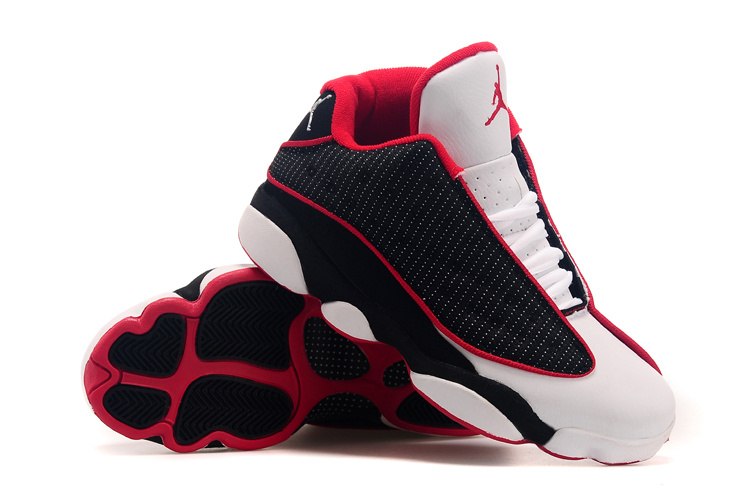 2015 Air Jordans 13 Low Black White Red Shoes