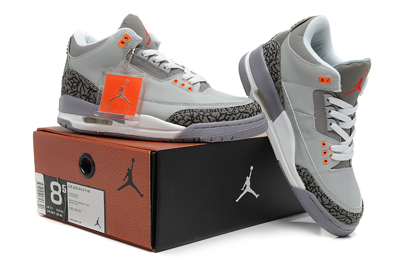 2015 Air Jordans 3 Retro Hardback Grey White