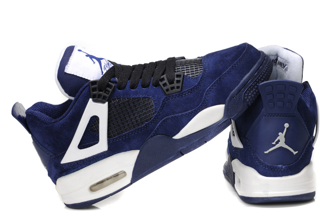 2015 Air Jordans 4 Classic Dark Blue White For Women