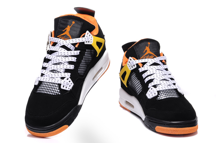 2015 Air Jordans 4 Retro Black White Orange