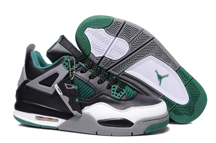 2015 Air Jordans 4 Retro Grey Green Black White