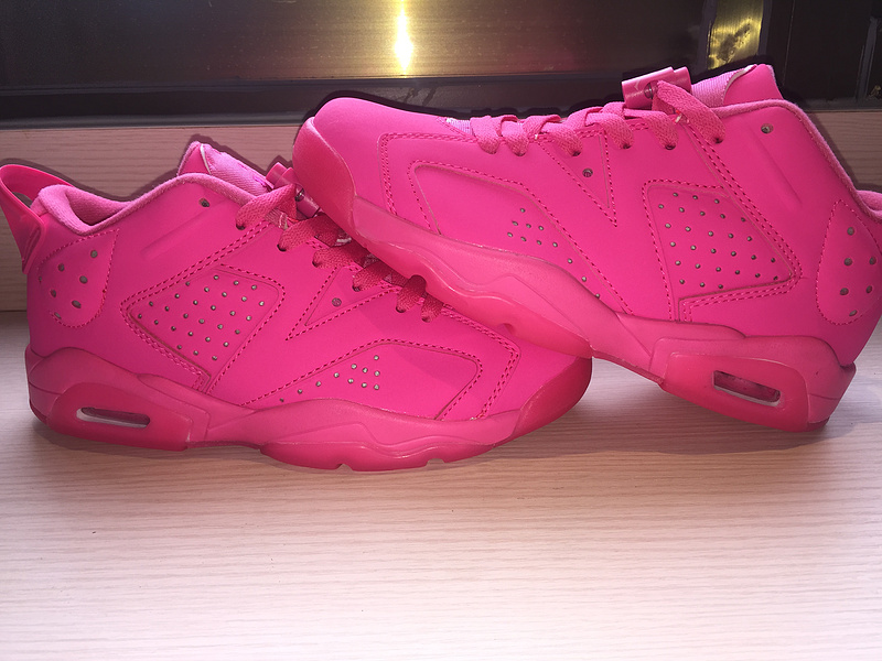 2015 Air Jordans 6 Low All Pink Women Shoes