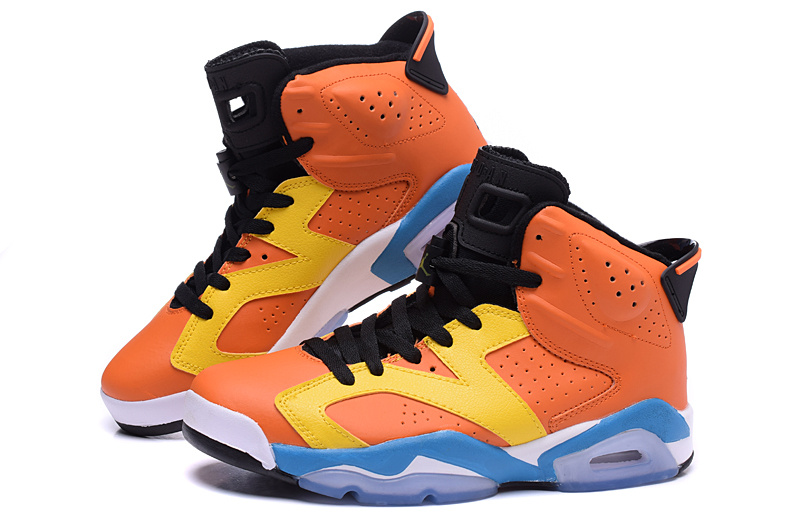 2015 Air Jordans 6 OG Orange Yellow Blue Shoes