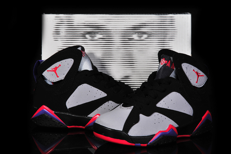 2015 Air Jordans 7 Retro Black Grey Red For Kid_07