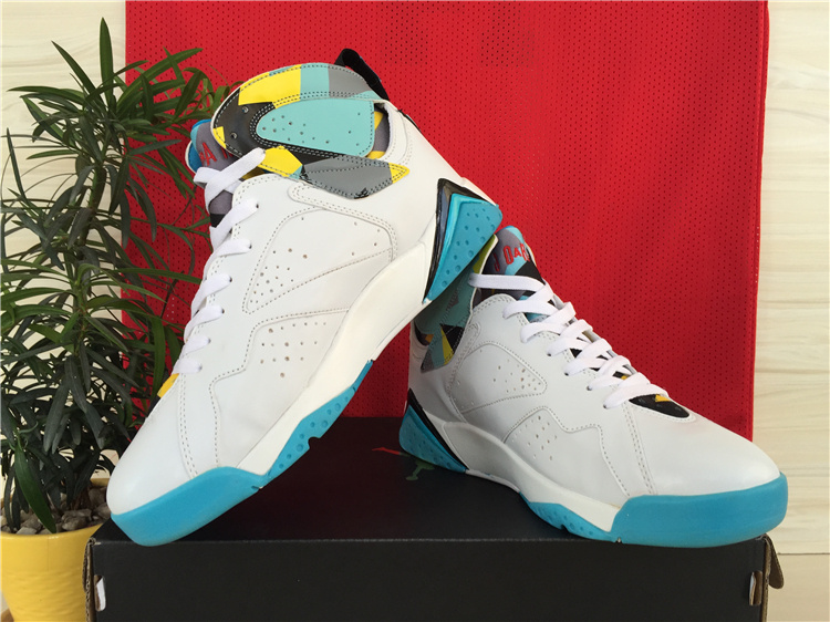 2015 Air Jordans 7 White Baby Blue Yellow Shoes