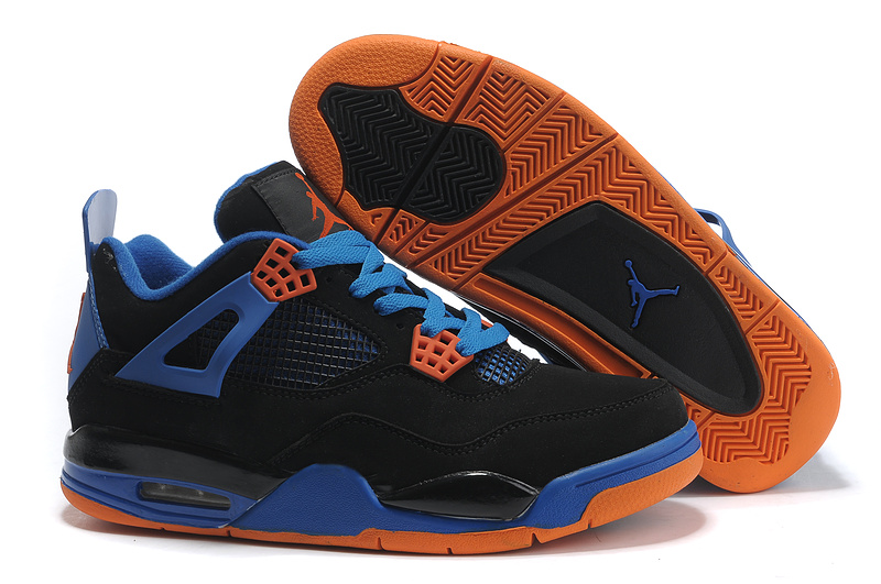 2015 Air Jordans Classic 4 Black Orange Blue_04