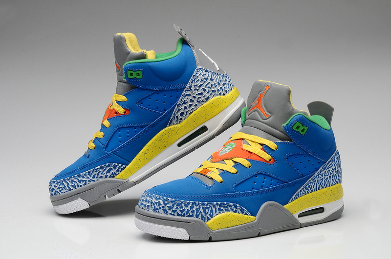 2015 Air Jordans Spizike Classic Blue Grey Yellow White
