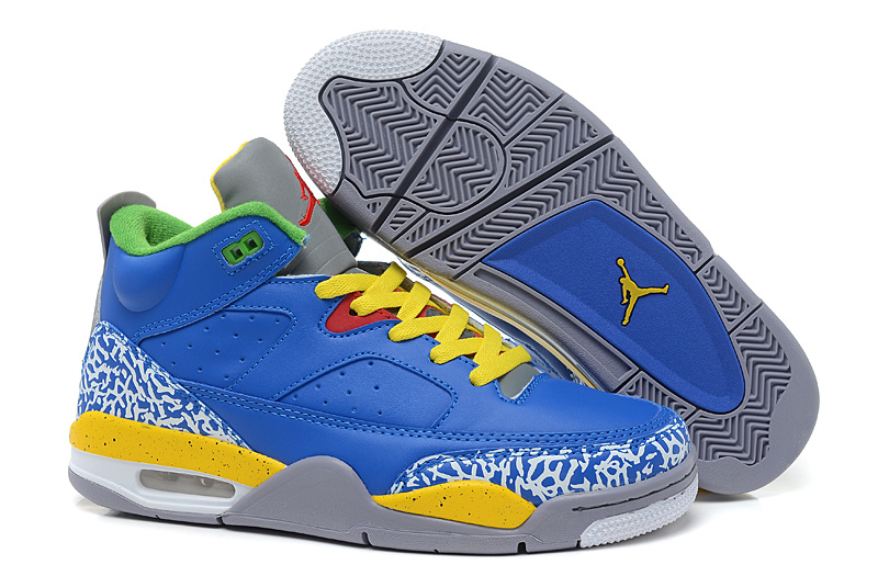 2015 Air Jordans Spizike Classic Blue Yellow Grey Cement
