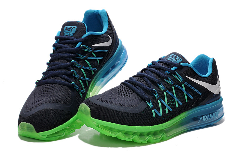 2015 Air Max Black Green Blue Lovers Running Shoes
