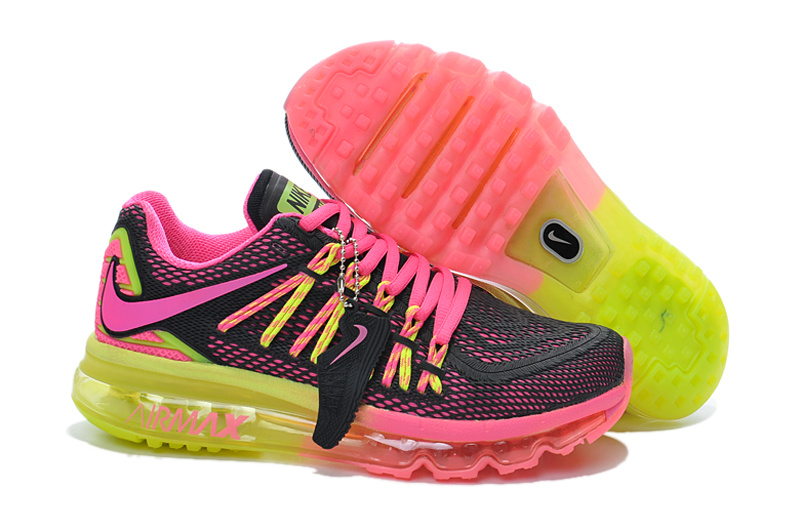 2015 Air Max Rainbow Black Pink Yellow Women Running