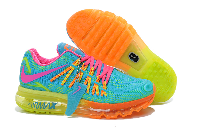54cb49468dfc new zealand nike air max 2015 mens rainbow sky blue electric green bright  orange b5e3d e133a  official store 2015 air max rainbow women running shoes  40f2c ...