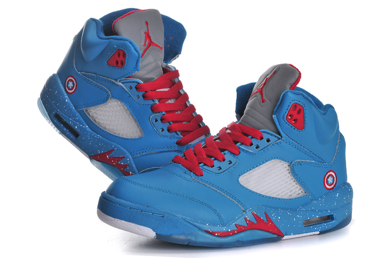 2015 Jordan 5 Ameica Captain Original Blue Red For Women