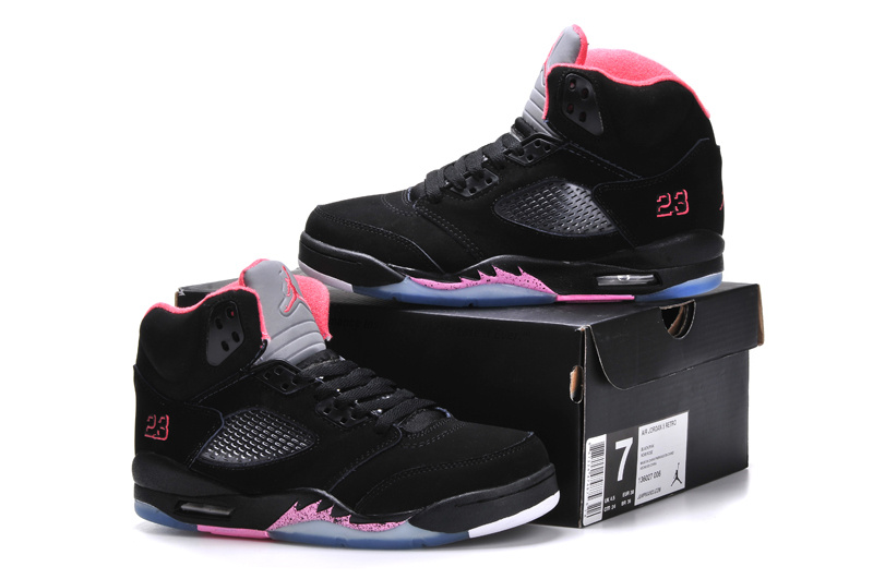 2015 Jordan 5 Classic Black Pink For Women