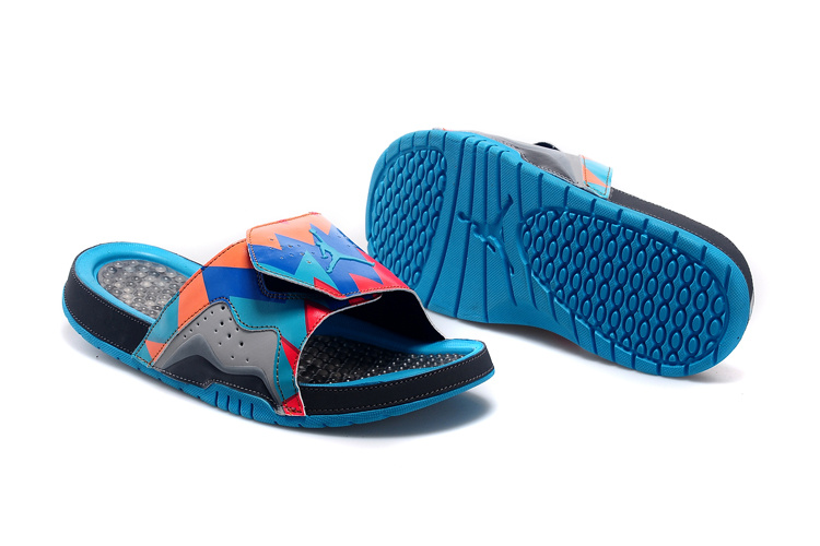 2015 Jordans 7 Hydro Hare Blue Red Black Sandal Lover
