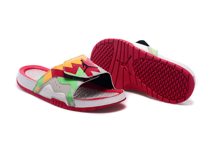 2015 Jordans 7 Hydro Red Orange Green Grey Sandal Lover