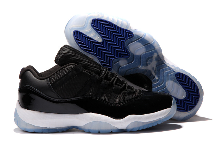 2015 Jordans 11 Low Black White Blue Retro