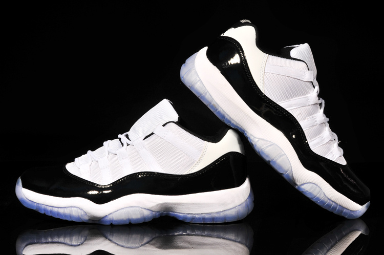 2015 Jordans 11 Low Reissue Concord Retro White Black