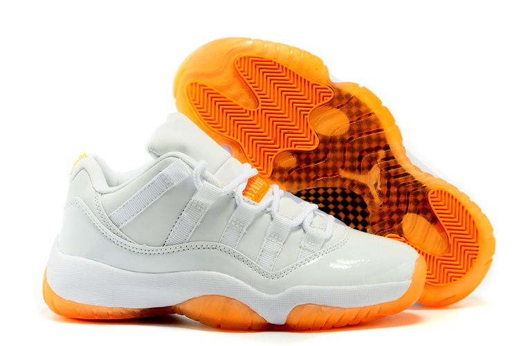 2015 Jordans 11 Women White Orange