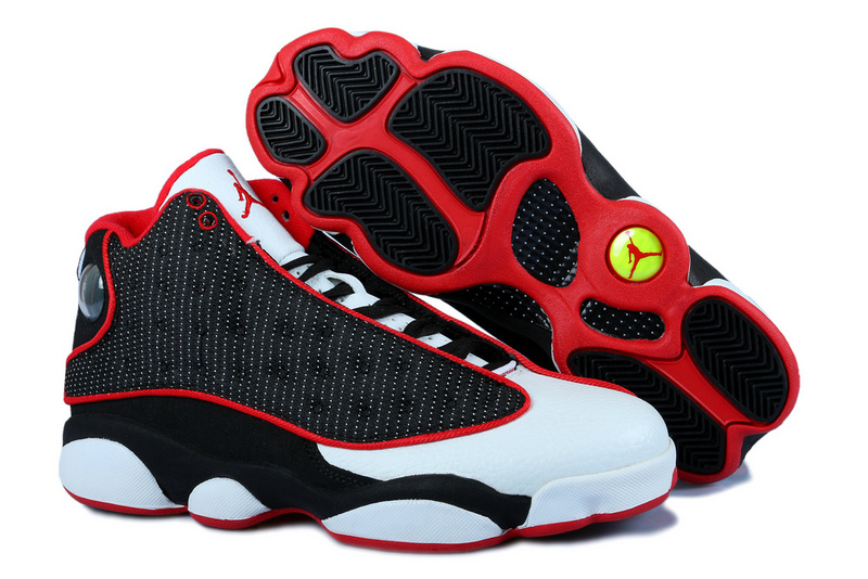 2015 Jordans 13 Black White Red Classic 3D Eye And Recoil Air Cushion
