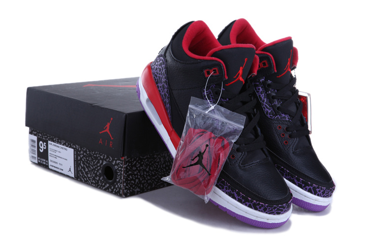 2015 Jordans 3 Retro Black Red White