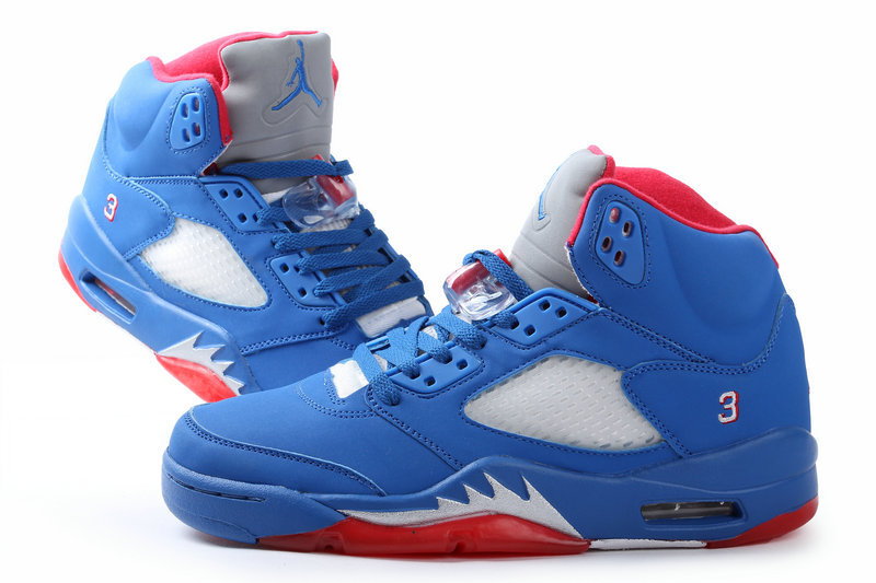 2015 Jordans 5 Original All Blue Red