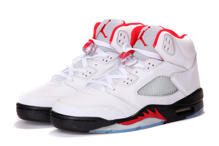 2015 Jordans 5 Retro White Black Red