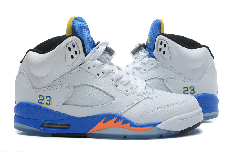 2015 Jordans 5 Retro White Blue Orange Sneaker
