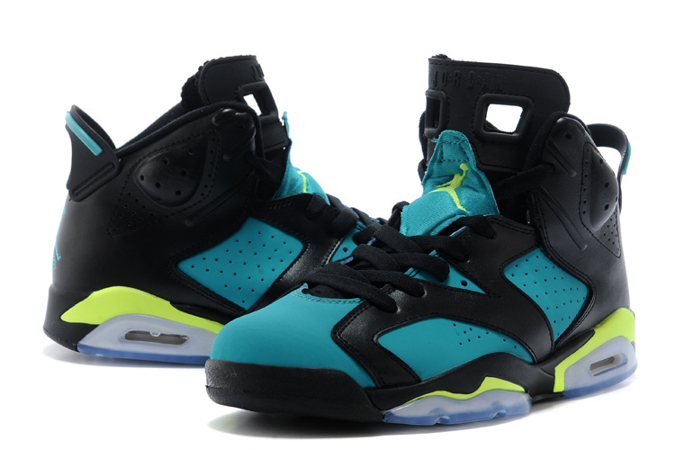 2015 Jordans 6 Retro Black Blue Fluorscent Lover Sneaker