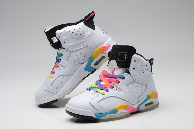 2015 Jordans 6 Retro Colorful White For Women
