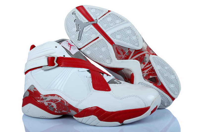 2015 Jordans 8 Classic White Red Grey