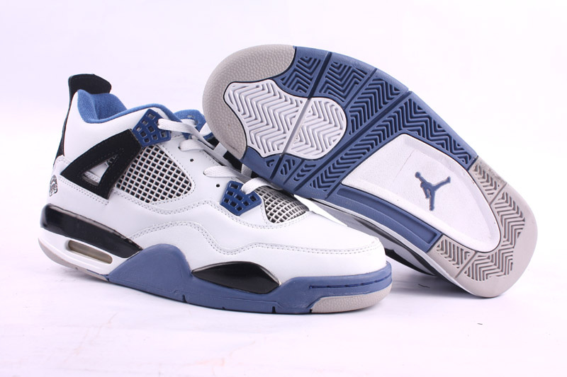 2015 Jordans 4 Classic White Black Blue Retro Shoes