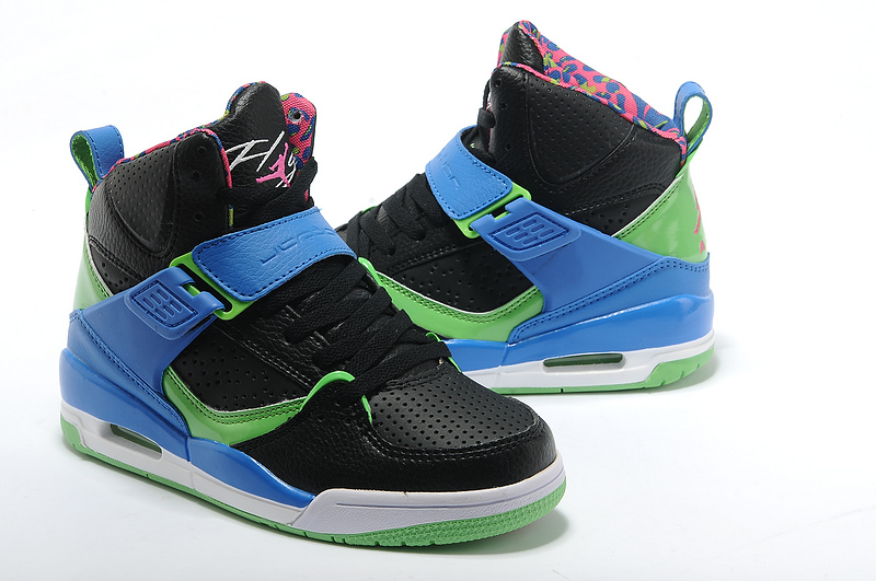 2015 Jordans Flight 4.5 Retro Black Blue Green For Women_05