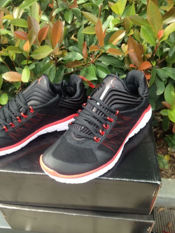 2015 Jordans Running Sneaker Black Red White