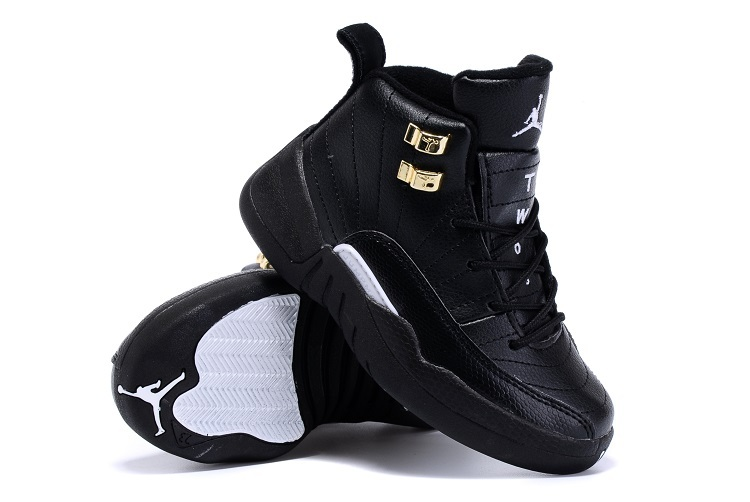 2015 Kids Jordans 12 Retro All Black Gold Shoes