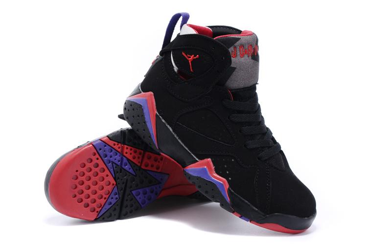 2015 Kids Jordans 7 Retro Black Purple Red Shoes