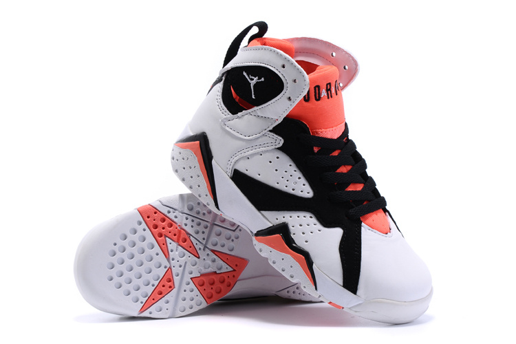 2015 Kids Jordans 7 Retro White Black Red Shoes