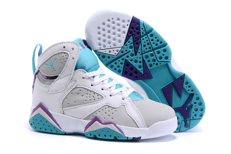 2015 Kids Jordans 7 Retro White Grey Baby Blue Shoes
